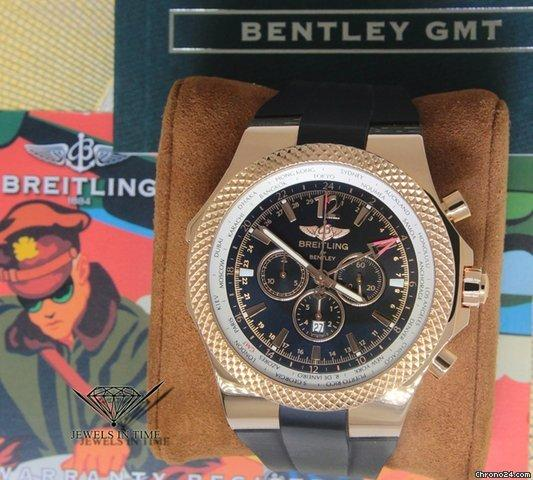 Breitling Bentley GMT Chronograph 18k Red Gold Mens Watch R47362 BoxPapers
