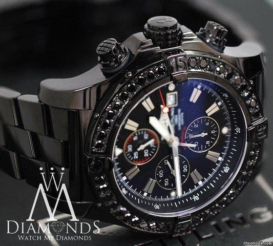 Breitling Black Pvd Breitling Super Avenger A13370 Watch 4ct Black Diamond Bezel