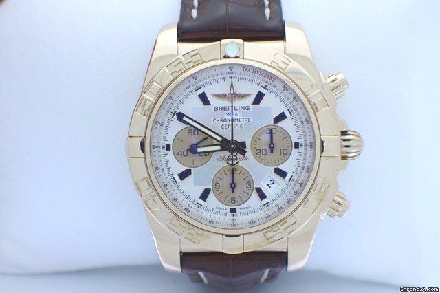 Breitling Chronomat 44 HB0110 18K Rose Gold Leather Strap Box  Papers