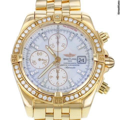 Breitling Chronomat Evolution H13356 Original Diamond Bezel Steel Mens Watch