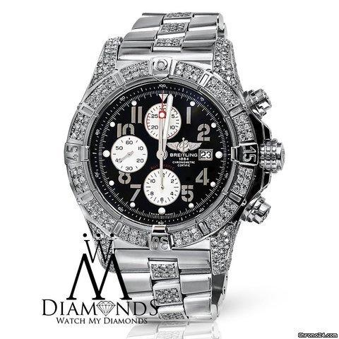 Breitling Diamond Breitling Super Avenger A13370 Black Dial Watch 2 Row Diamond Bezel