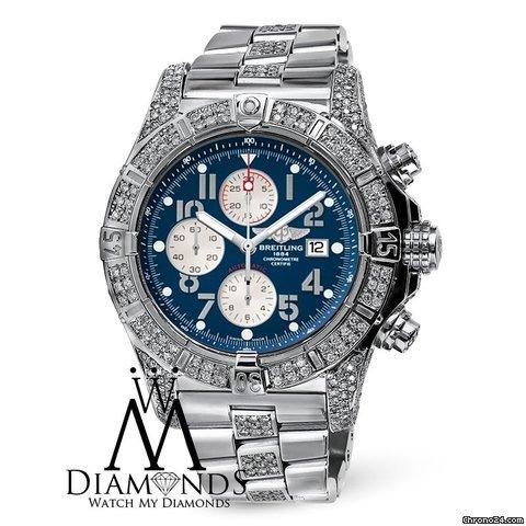 Breitling Diamond Breitling Super Avenger A13370 Blue Dial Watch 2 Row Diamond Bezel