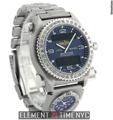 Breitling Emergency Co-Pilot UTC SuperQuartz Titanium 43mm Blue Dial Ref. E56321 Price On Request