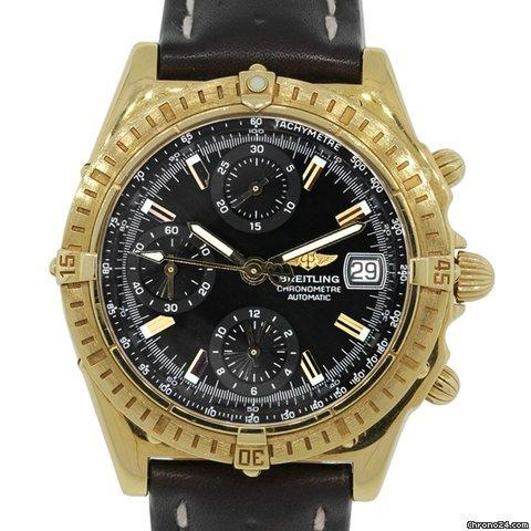 Breitling K13352 Windrider Chronograph 18k Gold Watch