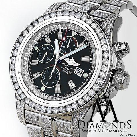 Breitling Mens Diamond Breitling Super Avenger Watch Black Index Dial Model A13370