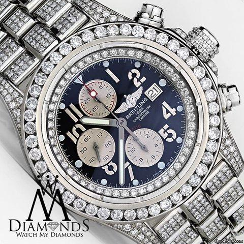 Breitling Mens Diamond Breitling Super Avenger Watch Blue Index Dial Model A13370