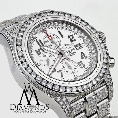 Breitling Mens Diamond Breitling Super Avenger Watch White Index Dial Model A13370