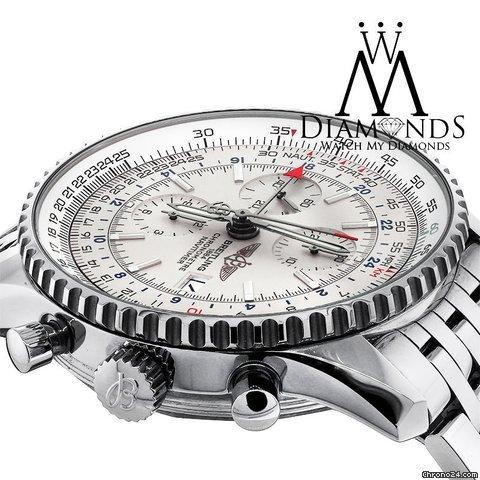 Breitling Mens Breitling Navitimer World Gmt White Face Chronograph A24322 46mm Watch