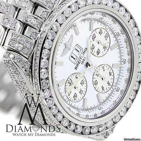 Breitling Mens Breitling Watch A44355 White Dial15ct Natural Diamond