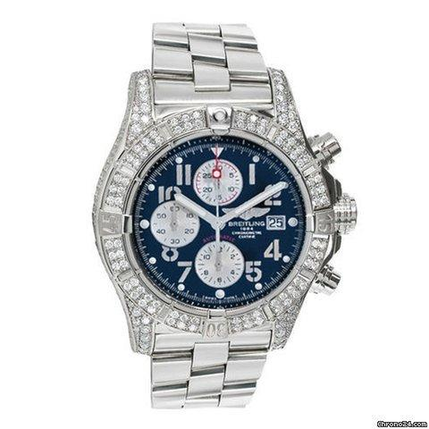 Breitling Mens Diamond Breitling Super Avenger Blue Dial A13370 Watch