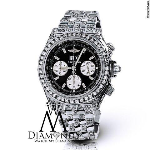 Breitling Mens Luxury Black Breitling Watch A44355 15 Carats Natural Diamond Video Inside