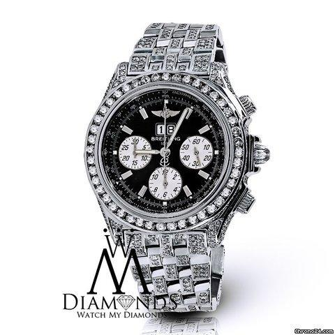 Breitling Mens Luxury Breitling Watch A44355 Black Dial 15ct Natural Diamond. Video Inside