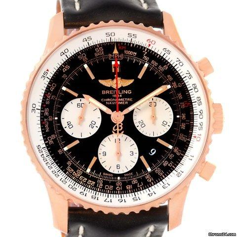Breitling Navitimer 01 18k Rose Gold Black Dial Watch Rb0120