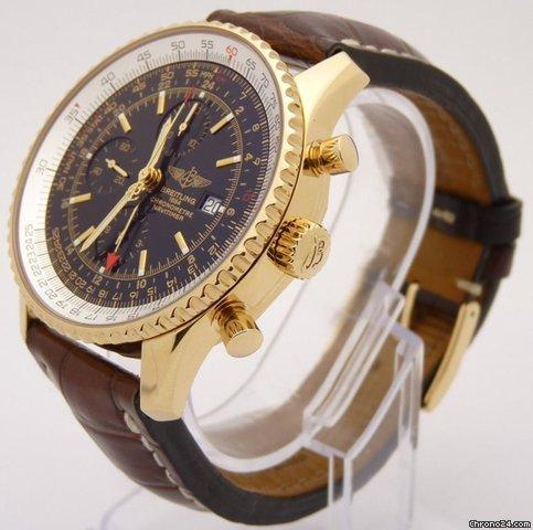 Breitling NAVITIMER WORLD GMT K24322 Limited Edition Chronograph 18k Gold 46mm