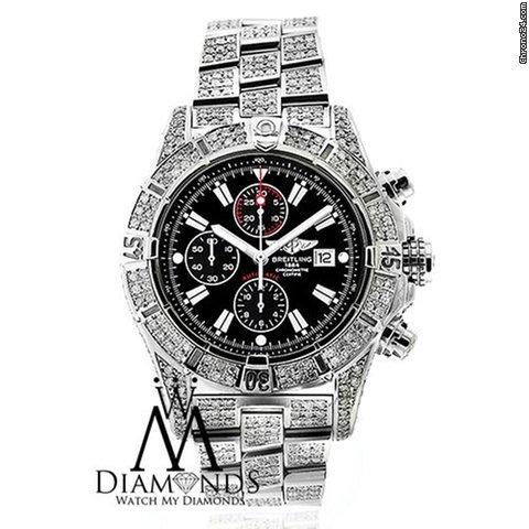 Breitling Original Breitling Super Avenger A13370 Black Sticks Dial 15ct Diamond Watch