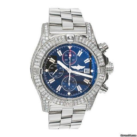 Breitling Super Avenger A13370 Diamond Case Blue Sticks Dial Luxury Mens Watch