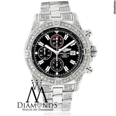 Breitling Super Avenger Black A13370 Covered Over 13ct Diamond Authentic Watch