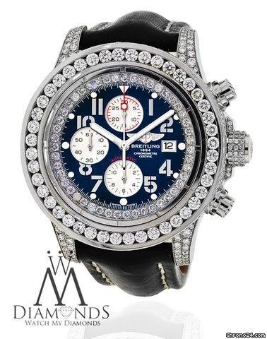 Breitling Super Avenger White A13370 15ct Diamond Watch On Leather Strap