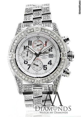 Breitling Super Avenger White A13370 15ct Fully Covered Diamond Authentic Watch
