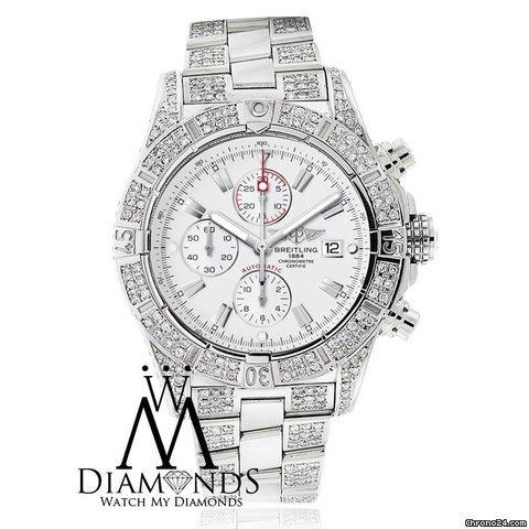 Breitling Super Avenger White A13370 Covered Over 12ct Diamond Authentic Watch