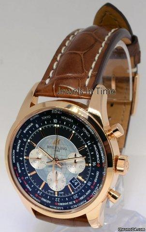 Breitling Transocean Unitime Chronograph 18k Rose Gold Watch BoxPapers RB0501