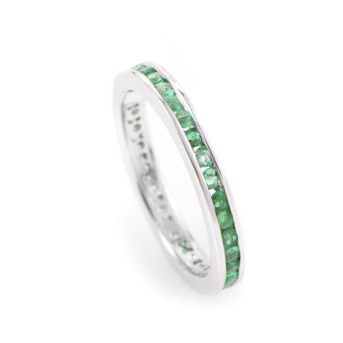 Bridal 18K White Gold Emerald Eternity Band KOME7149RBZ