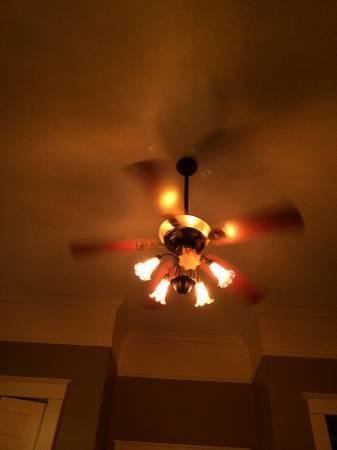 Bronze Ceiling Fan With Uplight And 5 Downlights 300