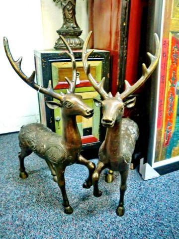 Bronze Chinese Dragon Deer Statue in Pair
