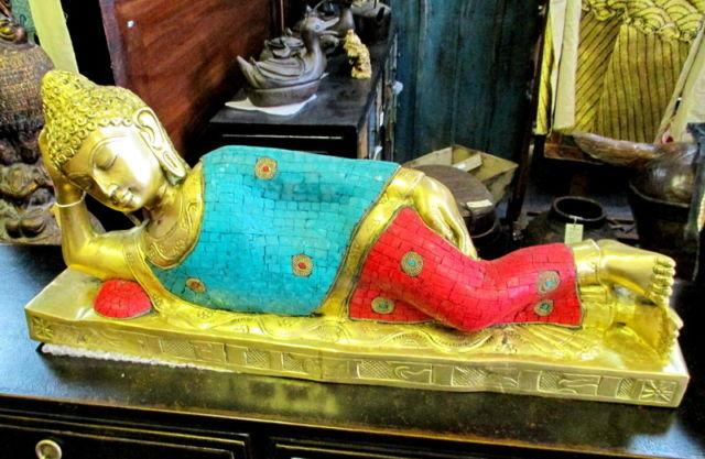 Bronze Reclining Buddha with Turquoise and Red Coral