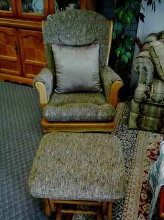 Brown Fabric Glider Chair With Matching Ottoman For Sale In Jackson Michigan Classified