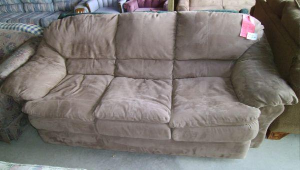 Brown microfiber sofa comfortable lowes bargain barn for Furniture zanesville ohio