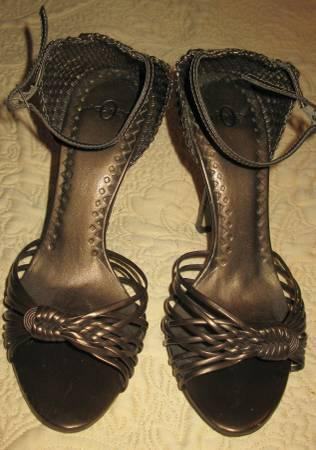 Brown open high heel shoes Excellent Price