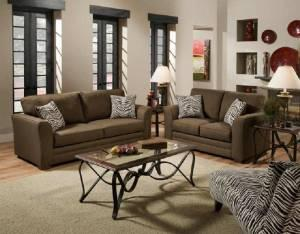 Brown Sofa Or Brown Loveseat With Zebra Print Accents