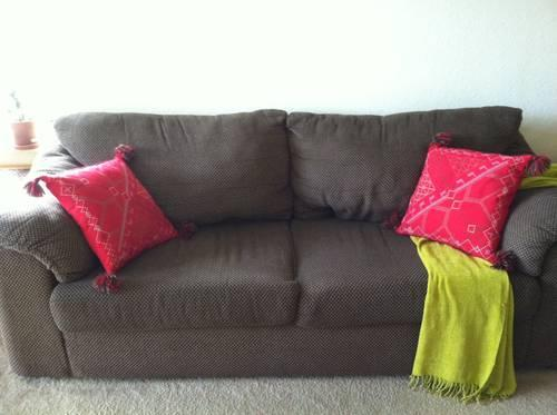 Brown Super Comfortable Couchsofa And Matching Chair For Sale In