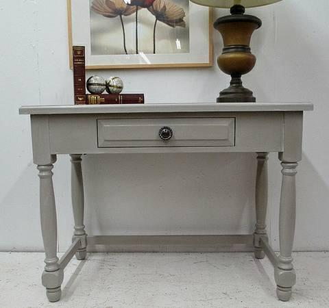 Broyhill tudor turned gray painted washed desk table for for Broyhill american era bedroom furniture