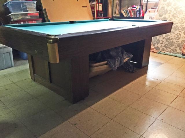 Brunswick Billiards Slate Pool Table Pro Install New Cloth Play Kit