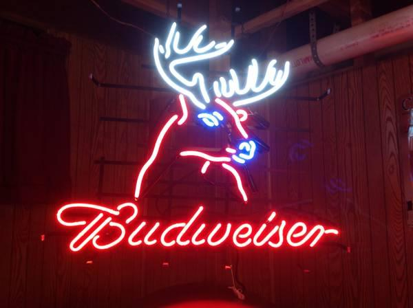 budweiser light sign neon deer fish beer bud michigan mirror tiger stadium lights americanlisted irons historic bar haven grand x14
