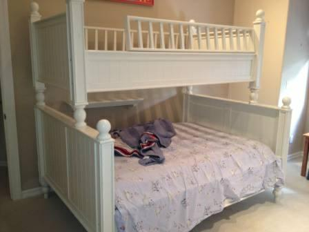 Bunk bed doube twin pottery barn white estate sale in for White twin beds for sale