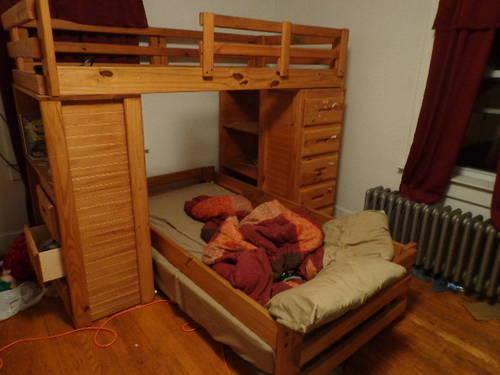 Bunk Beds With Built In Dresser Desk And Shelves For Sale