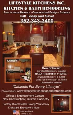 Buy 10 Kitchen Cabinets get free hardware 352-343-3400