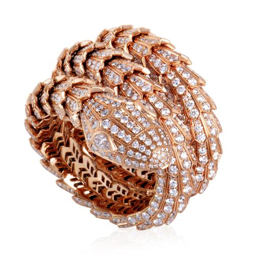 Bvlgari Serpenti Womens 18K Rose Gold Full Diamond Pave