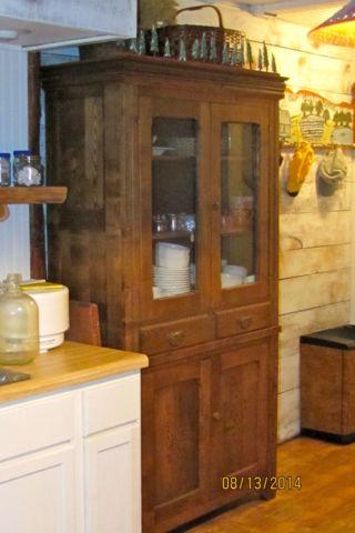 CABINET, GREAT ANTIQUE TWO PIECE STRAIGHT FRONT, OAK,