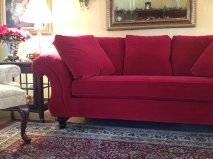 Calico Corners Custom Made Red Velvet Sofa