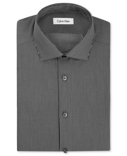 Calvin Klein Dress Shirt Steel No Iron Black Stripe Long