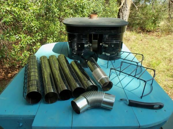 Camp stove wood charcoal 2 burner rocket stove eco zoom for Fish camps for sale in florida