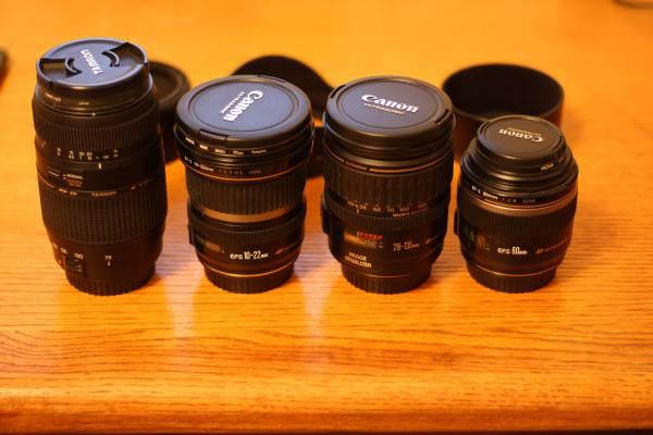 Canon 60mm, 28-135mm, and 10-22mm - $1200