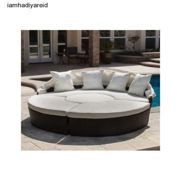 Canopy Wicker Lounge 4-Pc Round Sofa Ottoman Outdoor
