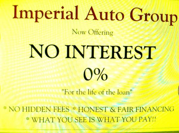 * Car dealership in SF's / 0% Interest for life of