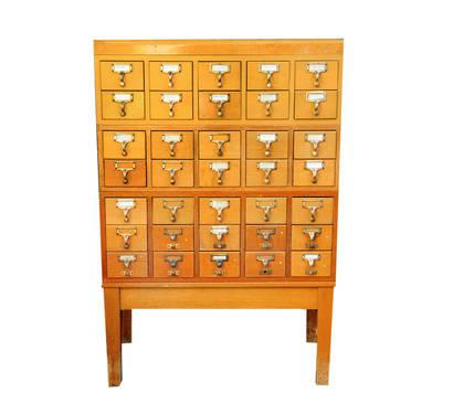 Card Catalog Cabinet, Library, 35 Drawers With Stand,