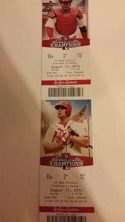 Cardinals tickets. August 17 - $60